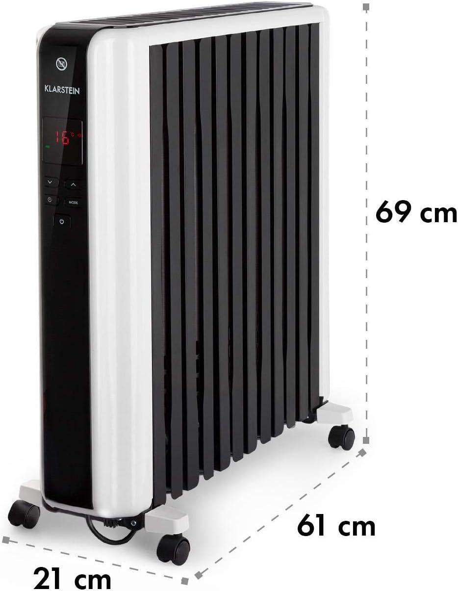 KLARSTEIN Thermaxx 2500 radiador de Aceite - Radiador eléctrico, 2500 W de Potencia, 5-35 °C, Forma Especial, Pantalla LED, Programable 24 h, Muy Ligero, Portátil, Ruedecillas, Blanco: Amazon.es: Hogar