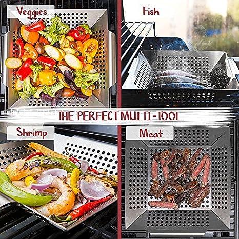 Barbacoa Cesta vegetal, Run Ant Acero inoxidable Vegetal Grill Basket Barbecue Pan para asar y asar verduras, carne, pescado, camarón y fruta: Amazon.es: ...