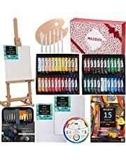 MEEDEN 71-Piece Acrylic Painting Set, Artist Supplies with Beech Wood Table Easel, 48×22ML Acrylic Paint Set, Canvases, Paintbrush Set and More, Art Painting Set for Kids & Adults