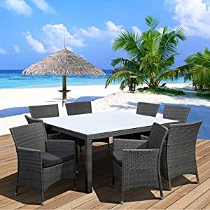 Atlantic Grand Liberty All-Weather Wicker Deluxe Patio Dining Set - Seats 8 Grey with Grey Cushions