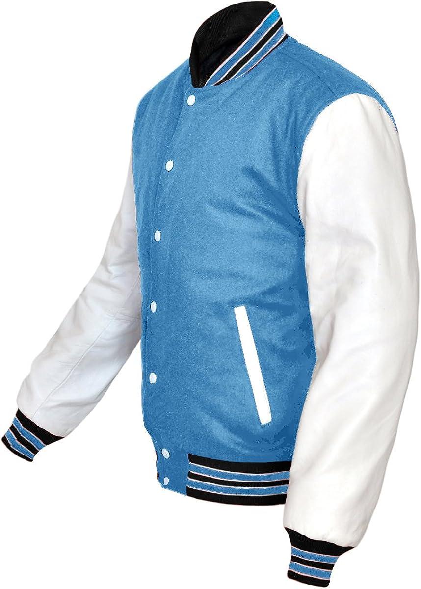 Superb Genuine White Leather Sleeve Letterman College Varsity Women Wool Jackets