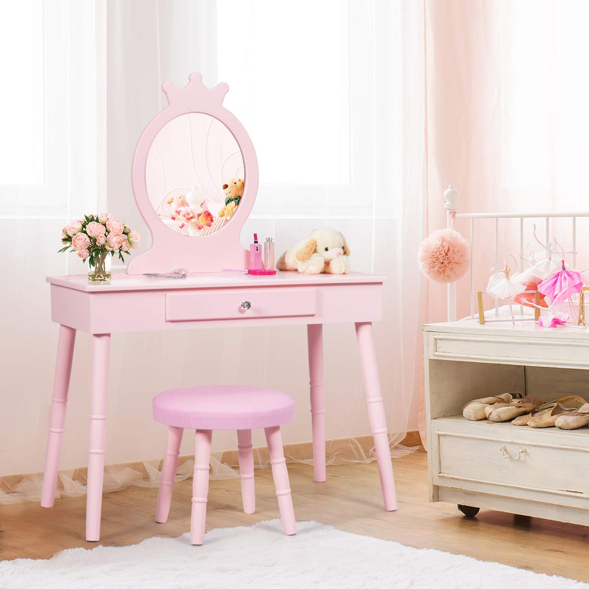 Costzon Kids Vanity Set, Wooden Princess Makeup Table with Cushioned Stool, Large Drawer and Crown Mirror, Pretend Beauty Make Up Dressing Play Set for Girls, Pink
