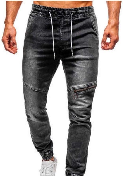 AngelSpace Men Ombre Elastic Waist Washed Zip Pocket Denim Slim Fitted Stretch Jean