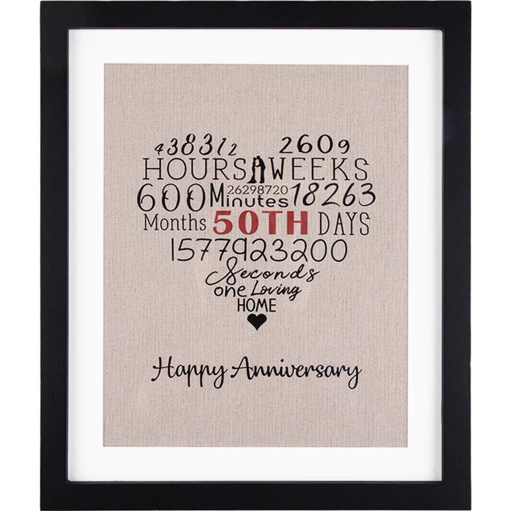 Amazoncom Happy Anniversary Burlap Wall Art With Frame 50th