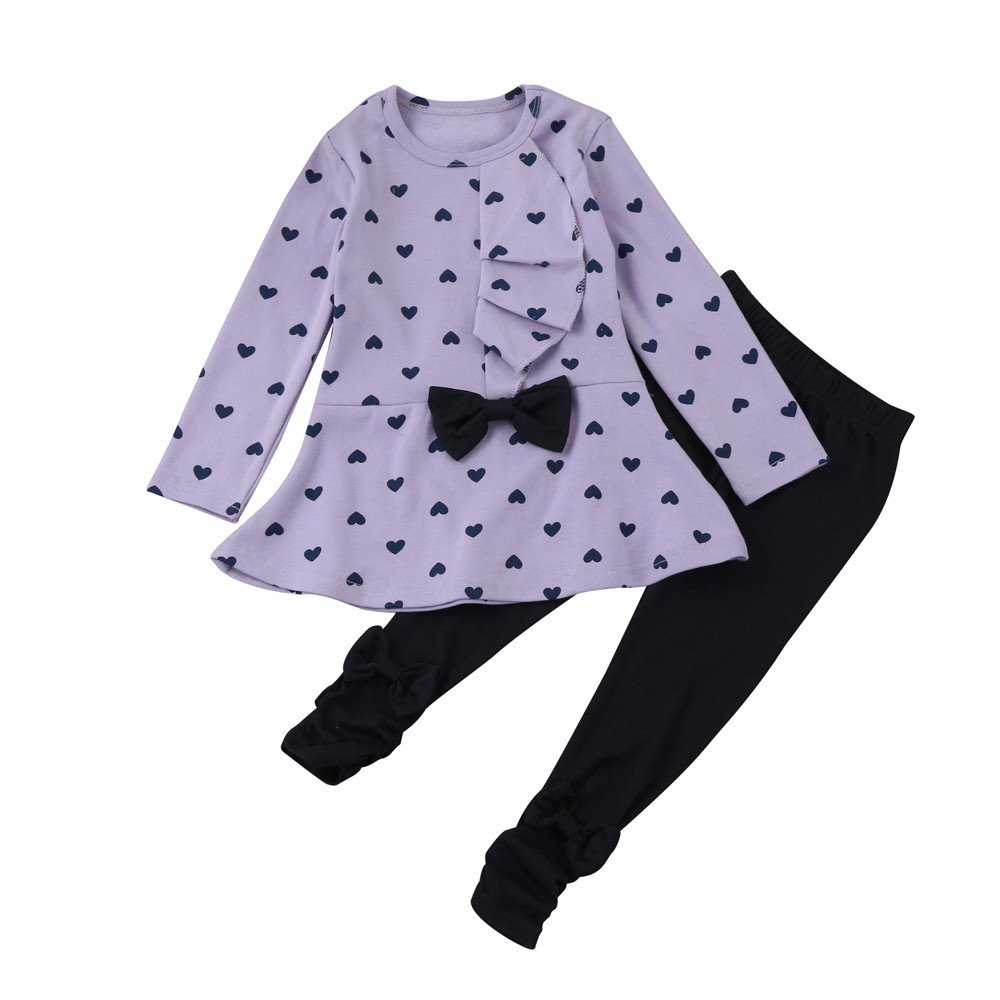 Unisex Newborn Clothes Prime,Toddler Infant Baby Girls Heart Print Clothes Bow Top T-Shirt +Pants Outfits Set,Baby Boys' Sleepwear Robes,Purple,12M