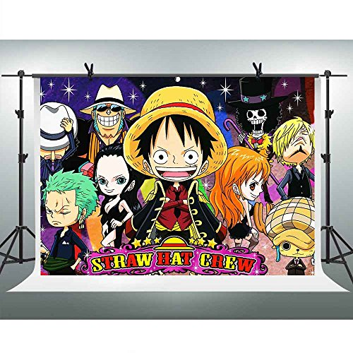 Straw Hat Crew Background 7x5ft Anime One Piece Monkey D Luffy Photography Backdrop Birthday Party Wallpaper Decoration Banner Photo Booth Props FHZON -