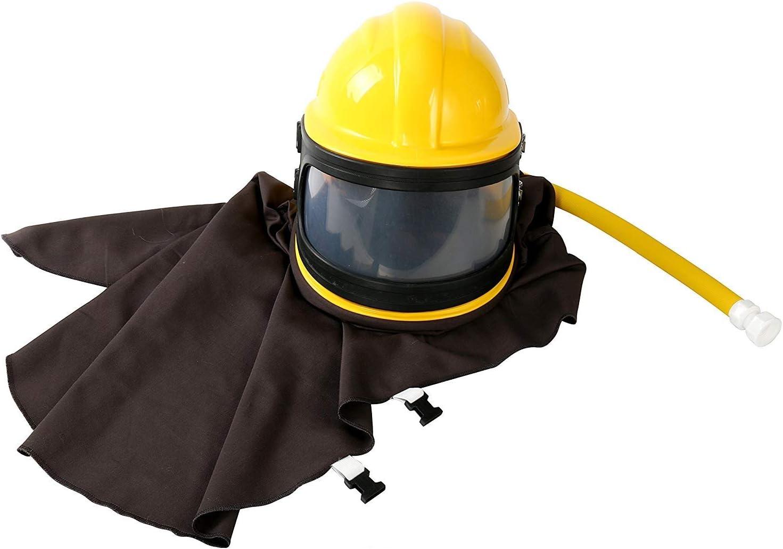 BestEquip Air Supplied Safety Sandblast Helmet Sandblasting Hood Protector ABS Helmet Sandblasting(Red Or Yellow Send Randomly)