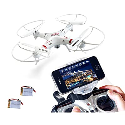 XGO outdoor toys Rc WiFi FPV Quadcopter Drone with HD Camera 4 Channel 2.4GHz 6-Gyro Headless APP control White,2 li-po battery on sales
