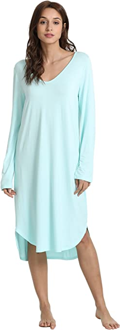 WiWi Soft Bamboo Long Sleeve Nightgowns for Women V Neck Sleep Shirt S-XXXXL 4XL