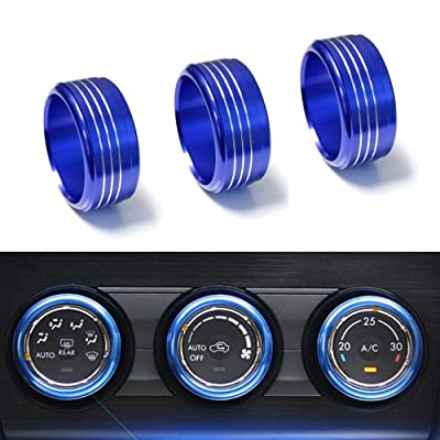 iJDMTOY 3pcs Blue Anodized Aluminum AC Climate Control Knob Ring Covers Compatible With Subaru WRX, STI, Impreza, Forester, XV Crosstrek: Automotive