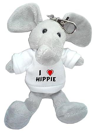 Elefante de peluche (llavero) con Amo Hippie en la camiseta ...