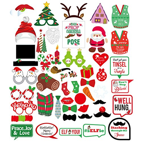 Ansinna Christmas Photo Booth PropsKit Cute Design & Various Funny Images PropsDress-up Party Accessory for Christmas, Wedding, Birthday Party -47pcs -