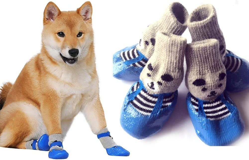 HuntGold 4Pcs Non-Slip Dog Socks Cotton Pet Paw Protector Anti-Skid Multicolor for Indoor Wear