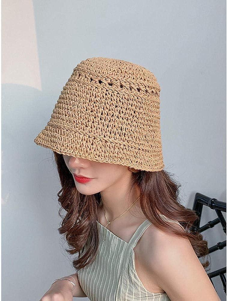 Cappello da Bacino Regolabile RSRA Cappello da Sole Donna Paglia,Protezione UV,Cappello da Pescatore Cappello da Pescatore Cappello di Paglia