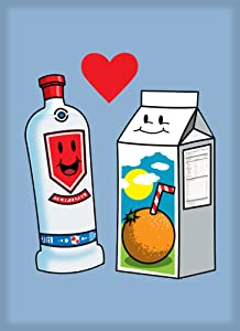 Vodka Loves OJ Orange Juice Cute Couple Meant to Be Graphic - Rectangle Refrigerator Magnet