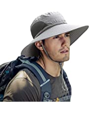 ZIQIAN Mens Sun Hat Summer Unisex Sun UV Protection Bucket Hat Outdoor Waterproof Wide Brim Hat with Breathable Mesh and Chin Strap for Camping Cycling Hunting Golf Hiking Fishing Hat