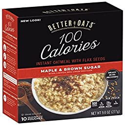 Better Oats Instant Oatmeal Maple & Brown Sugar 10 Pouches per Box (Pack of 2)
