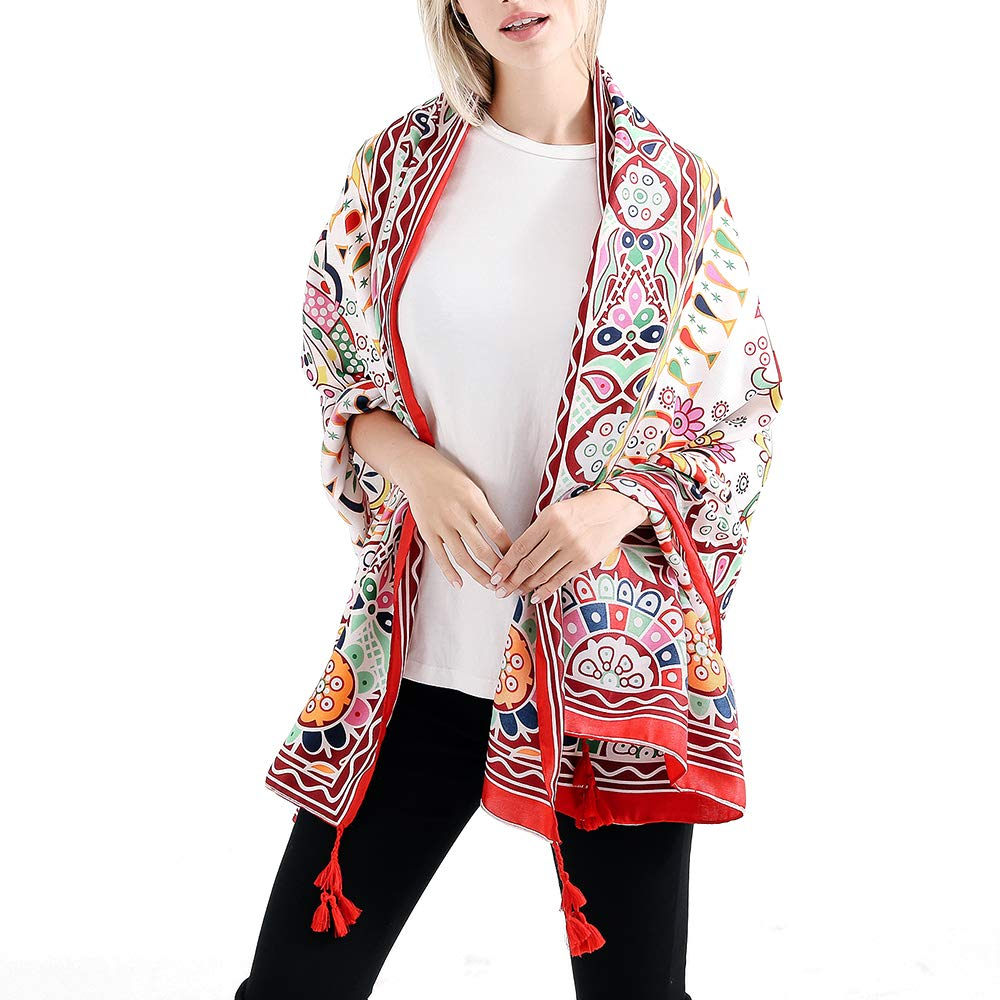 16 VISAER Womens 100% Twilled Cotton Fleeing Long Fashion Designer Scarf Travel Pashmina Tassel Bohemia Shawl Wrap
