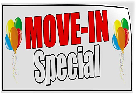 Decal Sticker Multiple Sizes Move-in Special White Business Move to Another Place Outdoor Store Sign White Set of 5 27inx18in