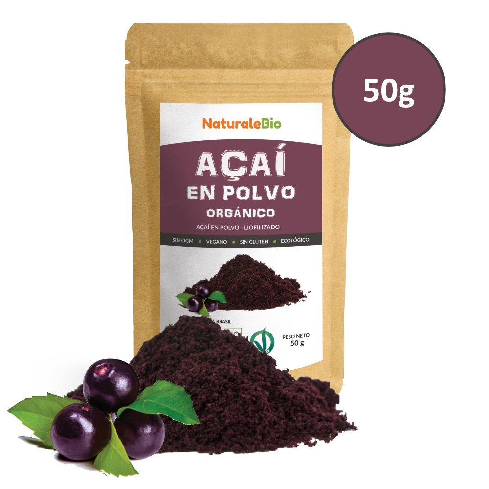 Bayas de Acai Orgánico en Polvo [Freeze - Dried] 50g | Pure Acaí Berry Powder Extracto crudo de la pulpa de la baya de açaí liofilizado | 100% Bio cultivado ...