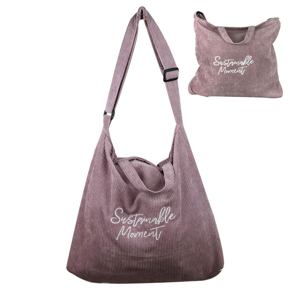 27d062e7cb73 Eflying Lion Corduroy Shoulder Bag Shopping Tote Bag Retro Casual ...