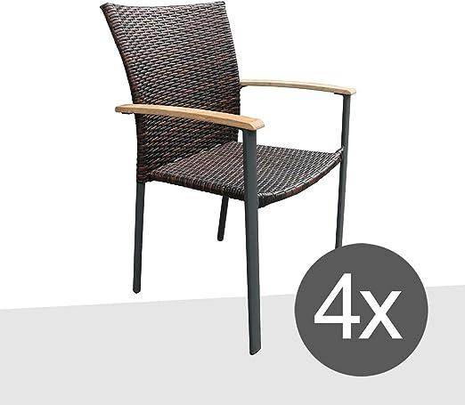 Silla apilable Jardín Juego de 4 outliv. Malaga Diseño Jardín Sillón apilable silla de jardín ratán Antracita/marrón Modern apilables de Polirratán: Amazon.es: Jardín