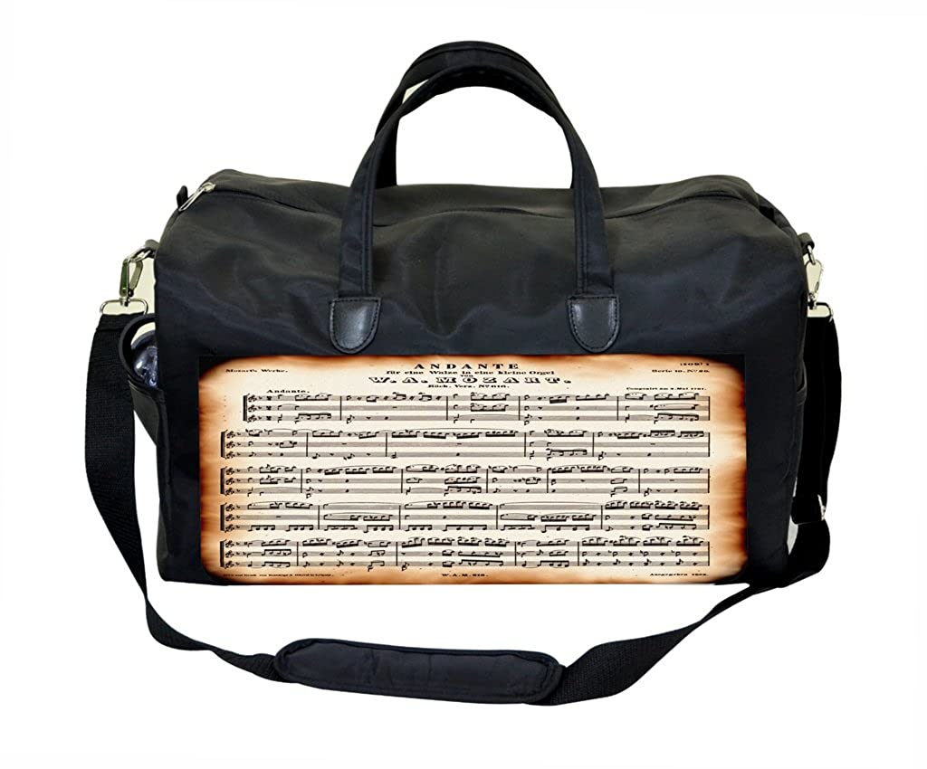 Mozart Music Notes PU Leather and Suede Weekender Bag
