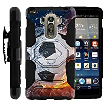 G Stylo, Swivelling Holster, Full Body Hybrid Armor Reloaded w/ Kickstand - Futbol, American Soccer Designs - for LG G Stylo, G4 Stylus LS770, H631, MS631 by MINITURTLE - Water and Flame Soccer Ball