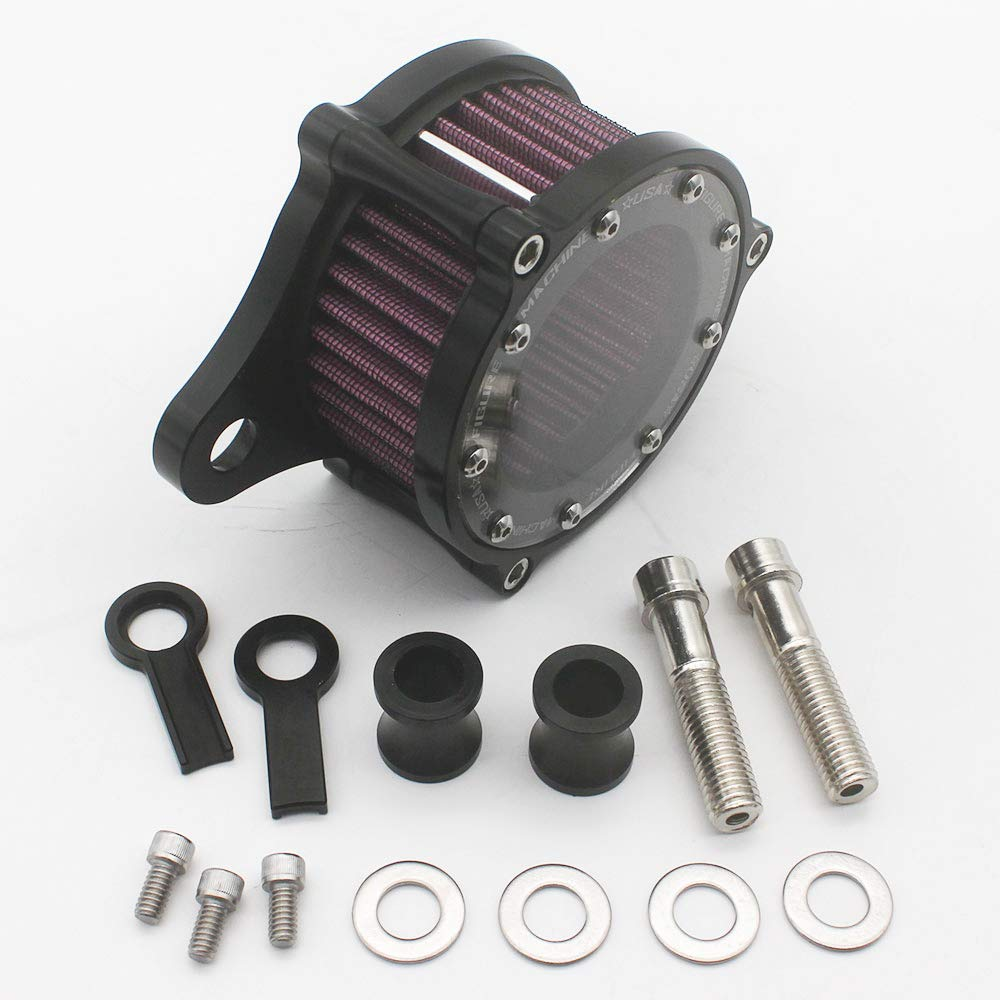KIPA Air Cleaner Intake Filter System Kit For Harley Davidson Sportster XL883 XL883N XL883R XL883P XL1200 XL1200L XL1200X Iron 883 Forty Eight XL1200X 2004-2016 Billet Aluminum CNC Machined Washable by KIPA (Image #4)