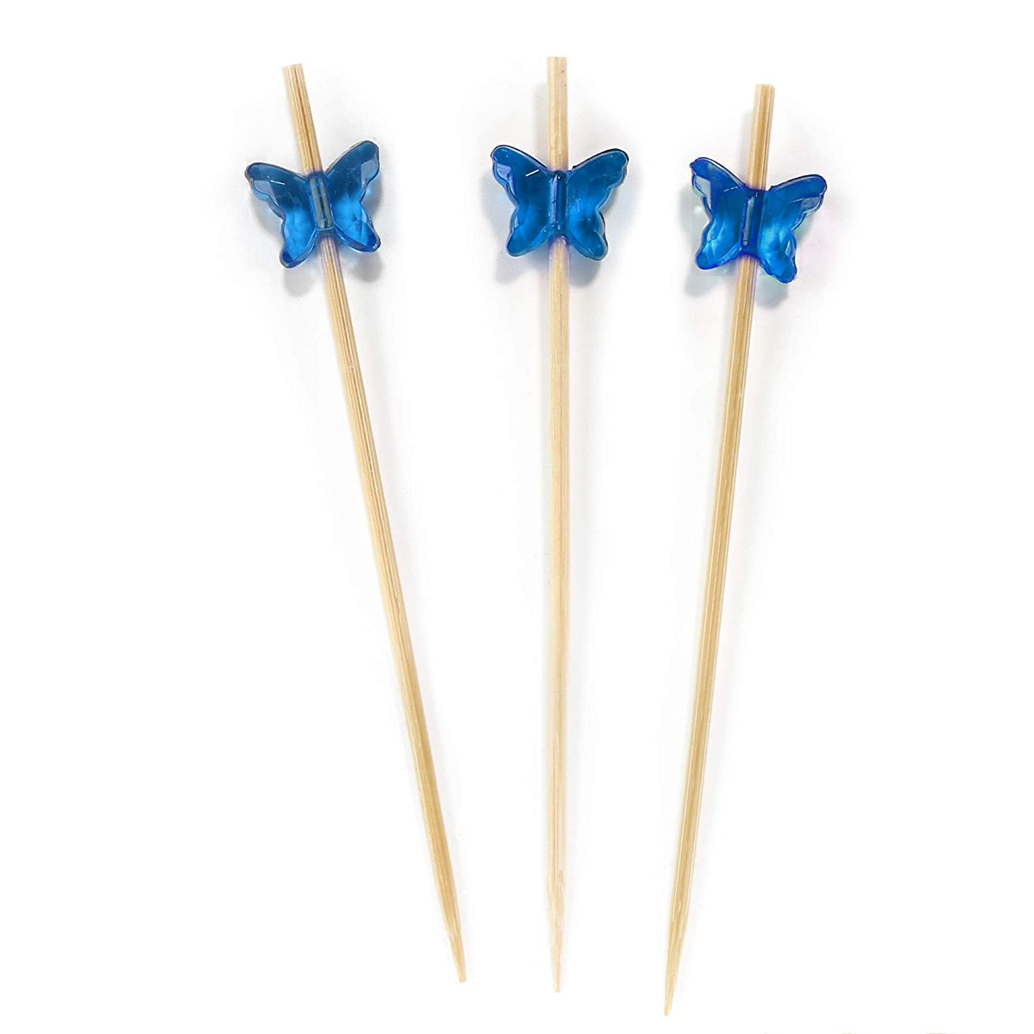 Holidays Restaurants or Buffets Party Supplies BambooMN 3.9 Decorative Acrylic Butterfly End Bamboo Cocktail Fruit Sandwich Picks Skewers for Catered Events 100 Pcs Holiday/'s 6955114904154a