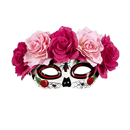 NET TOYS Máscara Sugar Skull Careta La Catrina con Rosas Rosa y Rojo Mascarilla Halloween Máscara Mexicana de Muertos Antifaz Día de los Muertos Cubre ...