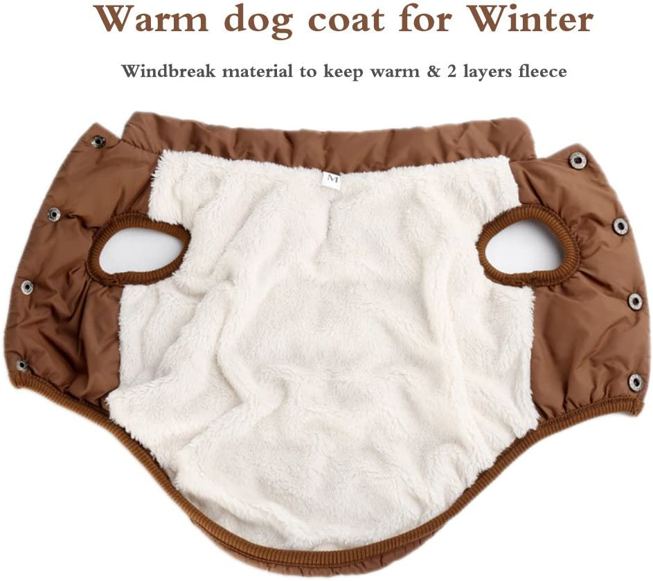 Winter Dog Coat Warm Dog Snow Coat Cozy Windproof Fleece Dog Jacket Dog Vest for Small Medium Larger Dogs and Cats by HongYH