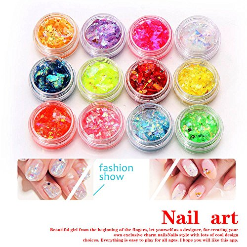 TRENDINAO New 12 Colors Nail Art 3D DIY Crushed Shellfish Paper Chips Powder For UV Acrylic System #A