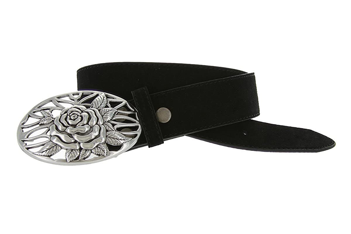 Italian Silver Rose And Vines Buckle With Genuine Suede Leather Belt Strap In Your Choice Of Color