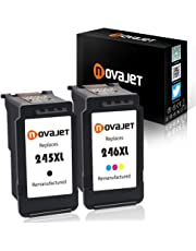 Novajet 2 Pack Remanufactured Ink Cartridge Replacement For Canon 245 PG-245XL 246 CL-246XL (1 Black+1 Tri-Color) With Ink Level Indicator For PIXMA iP2820 MG2420 MG2520 MX492 TS3120 PIXMA TS3129 Printer