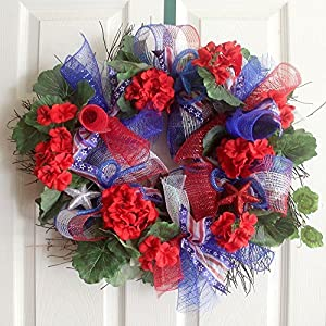 Patriotic wreath for front door, 4th of july, Americana Red White Blue decorations. Summer wreath 111