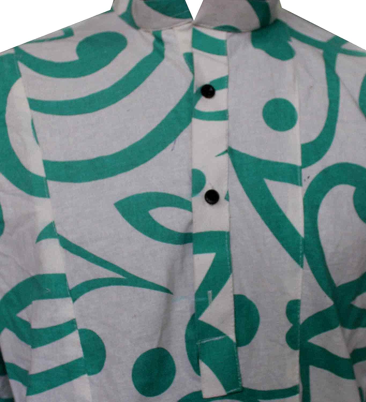 Lakkar Havali Indian 100/% Cotton Men/'s Shirt Round Blue Print Loose Fit Shirt Kurta White Color