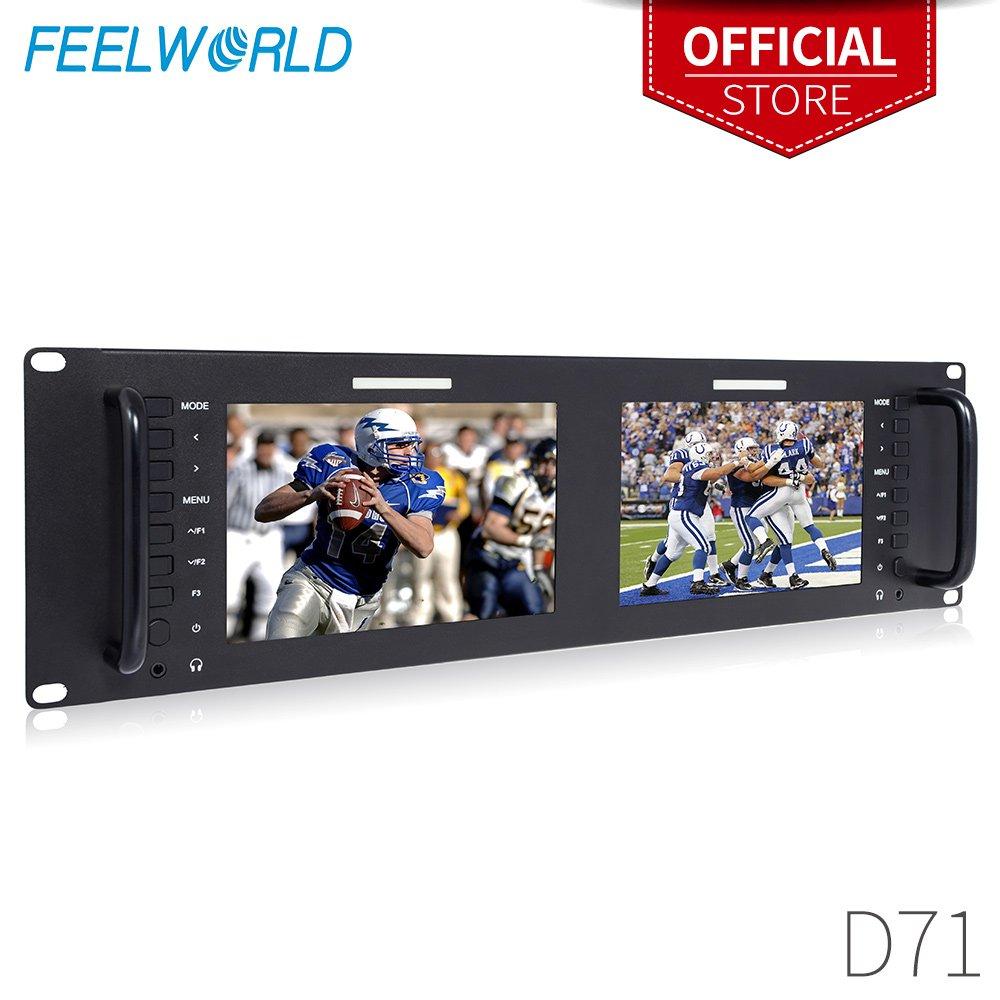 FEELWORLD D71 Dual 7 Inch 3RU Broadcast SDI Rack Mount Monitor IPS 1280x800 HD LCD Screen 3G SDI HDMI AV Input and Output by FEELWORLD