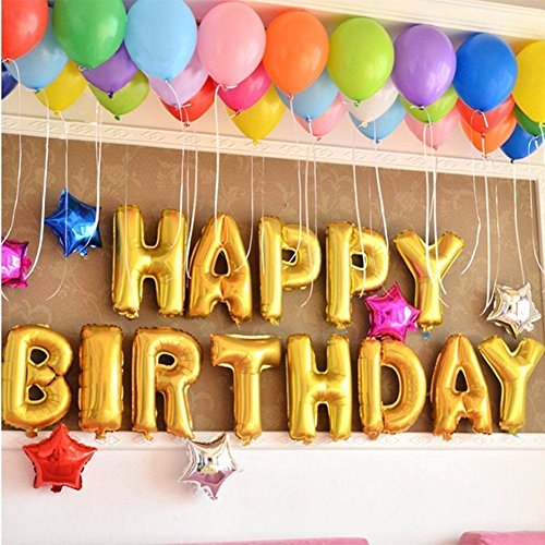 ZEKUI Birthday Party Decorations Kits- Gold HAPPY BIRTHDAY Letter Balloon Banner,Gold Balloons, 6 pcs Star & 50pcs Colorful Balloons,Perfect For All Age Birthday Party Supplies