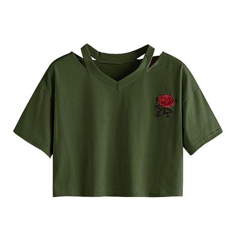 Oberteile Frauen Sommer, Ulanda Teenager Mädchen Mode Crop Top Sport V-Ausschnitt Shirt Bluse Damen Casual Rose Stickerei Kur