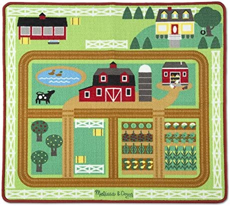 Melissa & Doug Round the Barnyard Farm Activity Play Rug (39 x 36 inches) – Wooden Tractor, Trailer, 3 Toy Animals