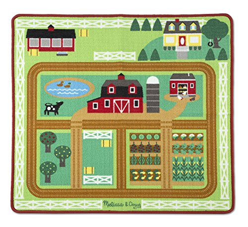 Horse Carpet - Melissa & Doug Round The Barnyard Farm Activity Play Rug, 39 x 36