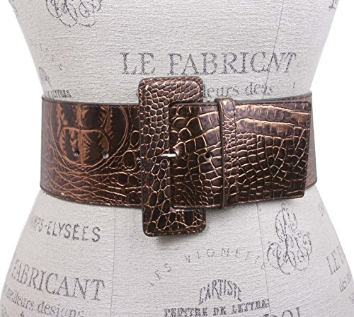 3 Inch Wide High Waist Croco Print Patent Leather Fashion Belt Size: XS - 28 Color: Bronze