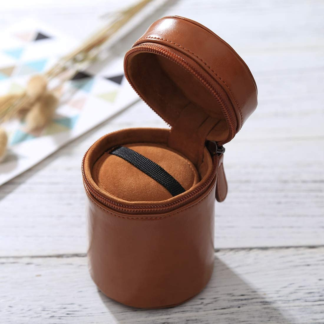 Black WEIHONG Color : Brown Size: 11x8x8cm WEIHONG Bag Small Lens Case Zippered PU Leather Pouch Box for DSLR Camera Lens