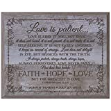 LifeSong Milestones Personalized Love is Patient Love is Kind Faith Hope Love Wood Wall Plaque Housewarming Gifts for him her Couple Custom Engraved Wall Plaque 12'' x 15'' (Barnwood)