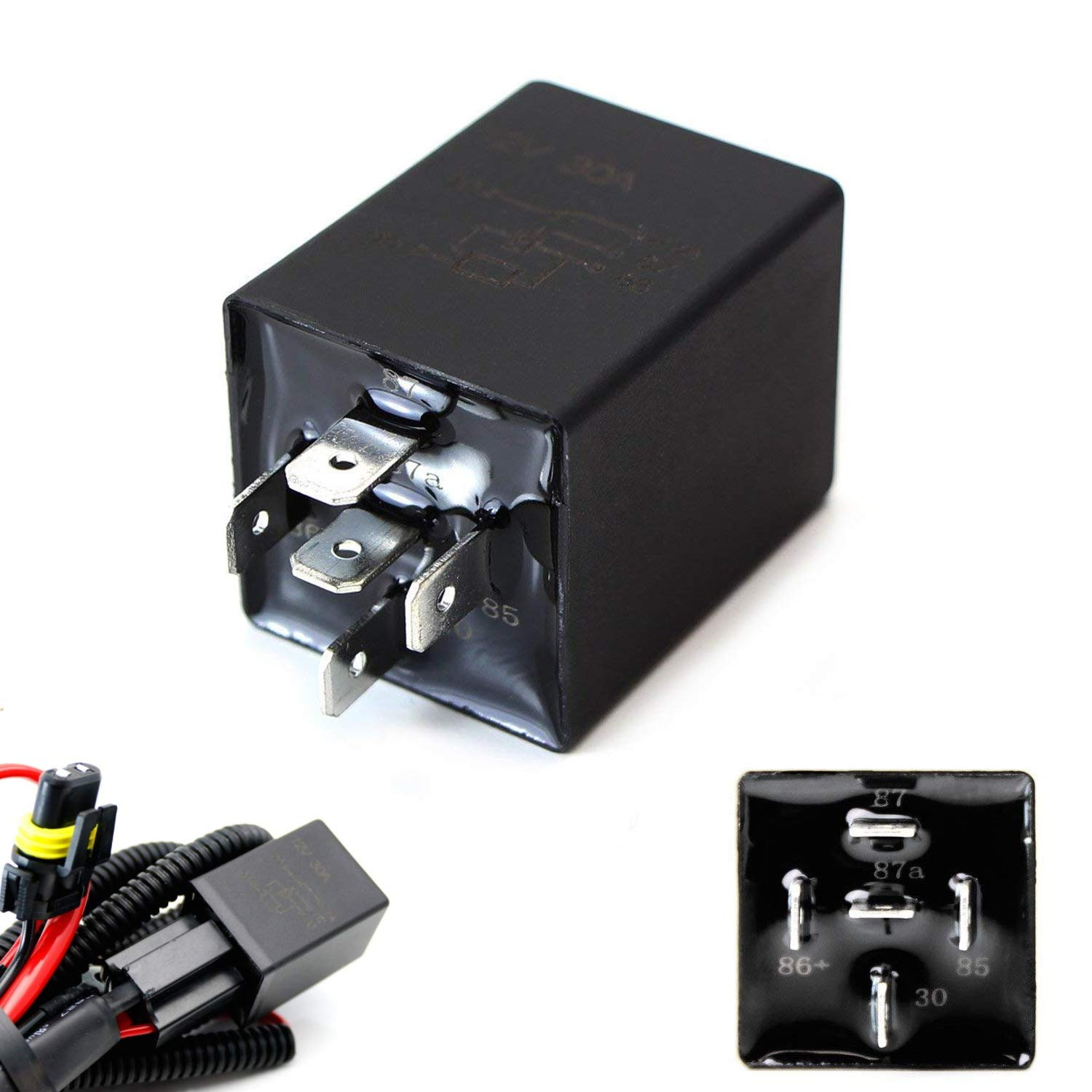 iJDMTOY (1) 10-Second Time Delay Relay Module, 5-Pin 12V 30A SPDT, For Automotive Lighting iJDMTOY Auto Accessories For Repair Conversion Custom Retrofit