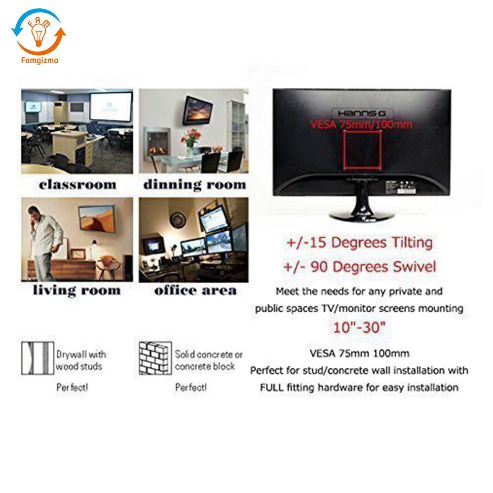 pour Les /Écrans 4K 154lbs VESA 400x400mm LCD Capacit/é 70kg 20 /à 60 Pouces Plasma et Incurv/és 1.5m HDMI C/âble Inclus Famgizmo Support Murale TV Orientable et Inclinable pour t/él/é de 50-152cm