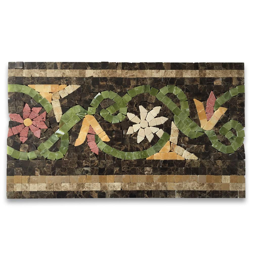 Stone Center Online Blossom Emperador 7.1x12 Marble Mosaic Border Listello Tile Polished