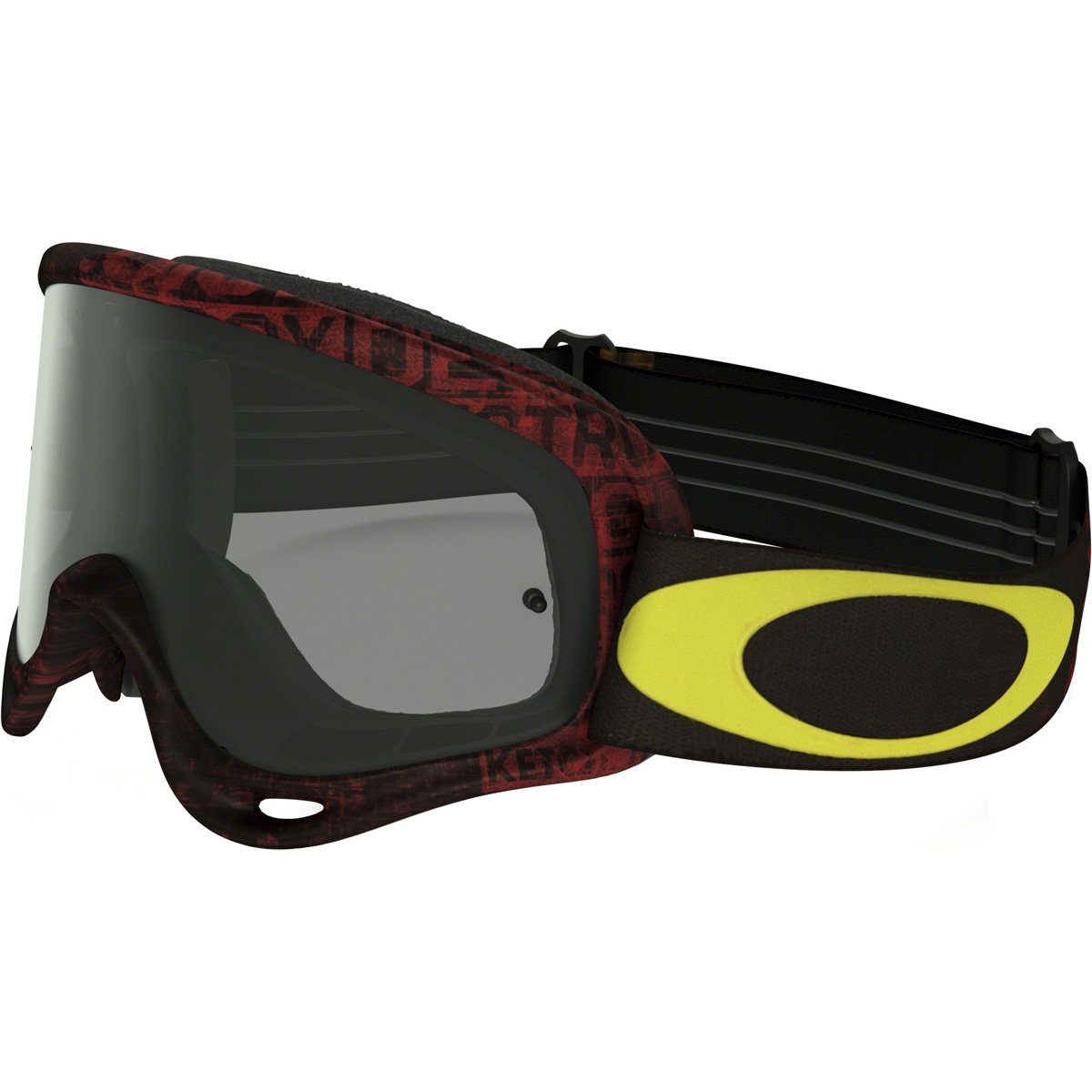 Oakley OO7029-29 Oframe MX Distress Tagline Yel with Dkgry Unisex-Adult Goggles, Medium, Red