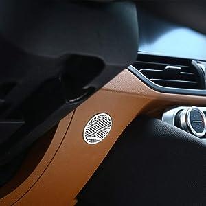 for Alfa Romeo Giulia Aluminum Front Steering Wheel Speaker Cover Trimming auto Parts Decorative Cover, Aluminum Alloy car Interior Fittings